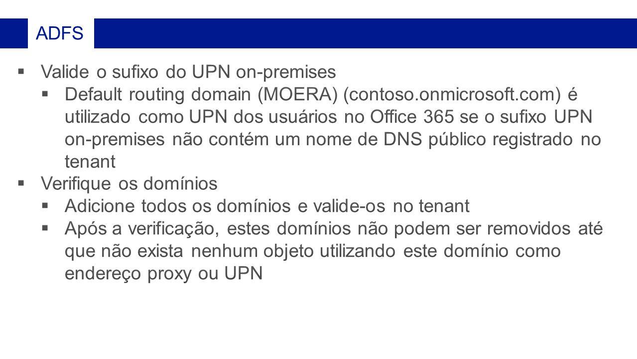 Valide o sufixo do UPN on-premises