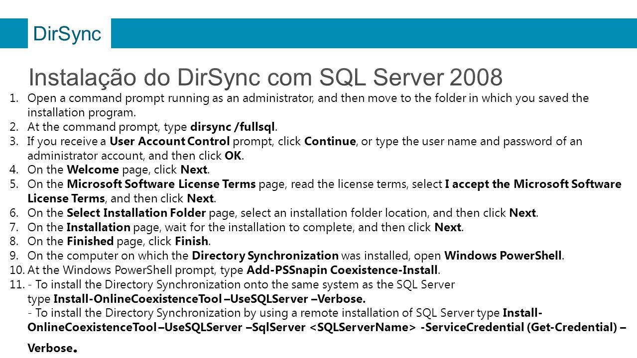 Instalação do DirSync com SQL Server 2008