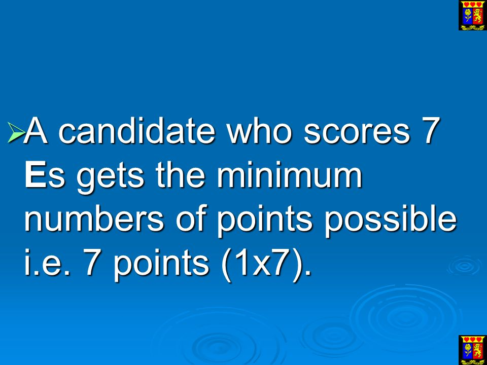 A candidate who scores 7 Es gets the minimum numbers of points possible i.e. 7 points (1x7).