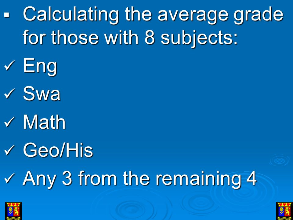 Calculating the average grade for those with 8 subjects: