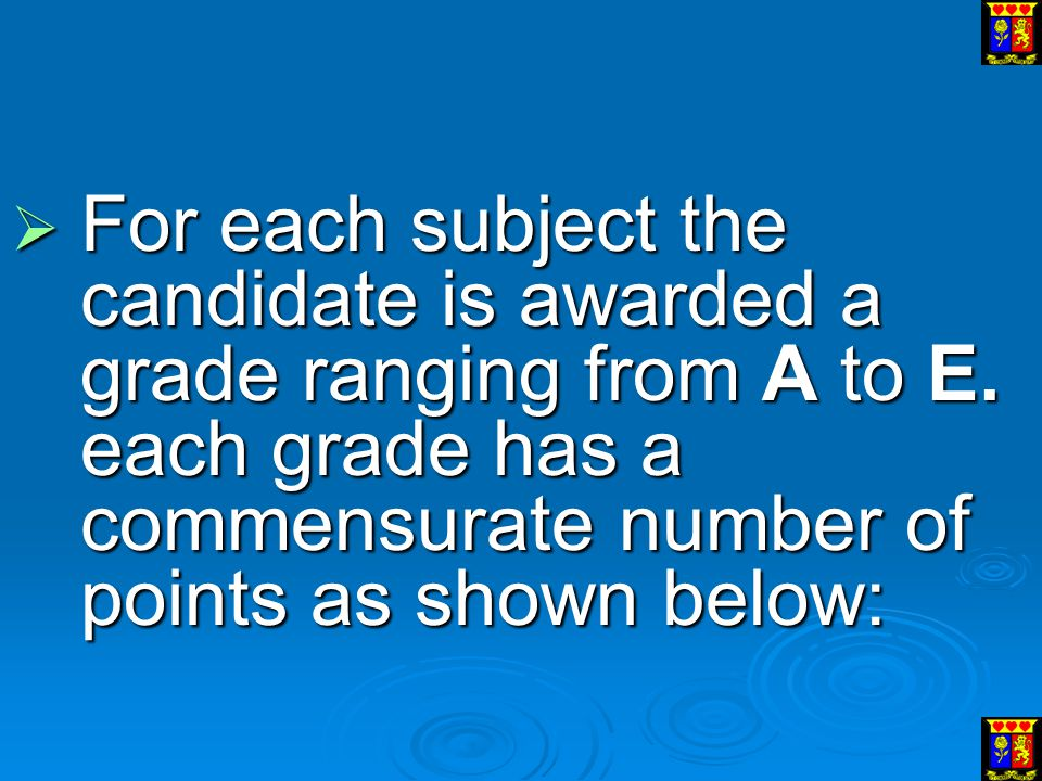 For each subject the candidate is awarded a grade ranging from A to E