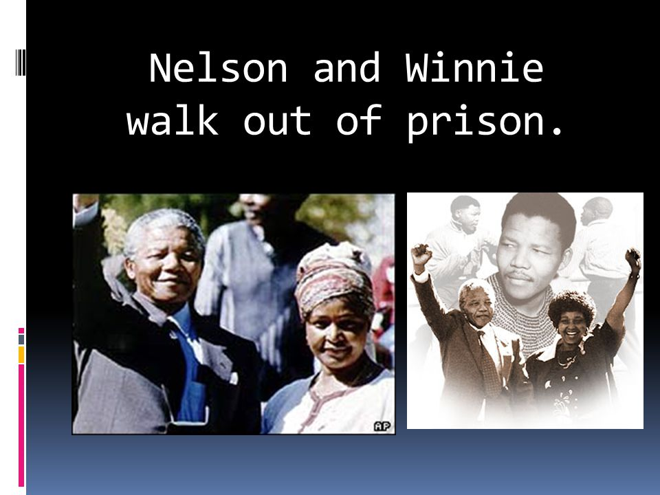 Nelson and Winnie walk out of prison.