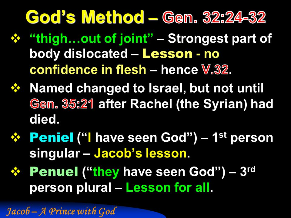 God's Method – Gen. 32:24-32 thigh…out of joint – Strongest part of body dislocated – Lesson - no confidence in flesh – hence V.32.