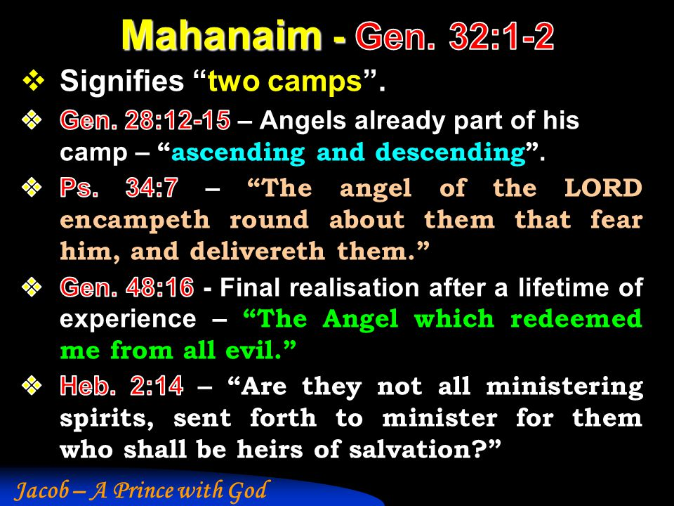 Mahanaim - Gen. 32:1-2 Signifies two camps .