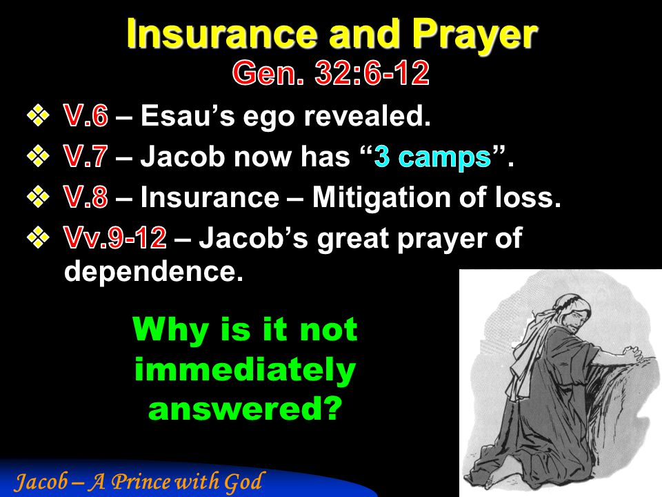 Insurance and Prayer Gen. 32:6-12