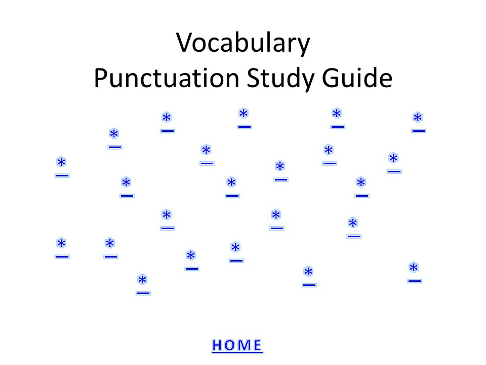 Vocabulary Punctuation Study Guide