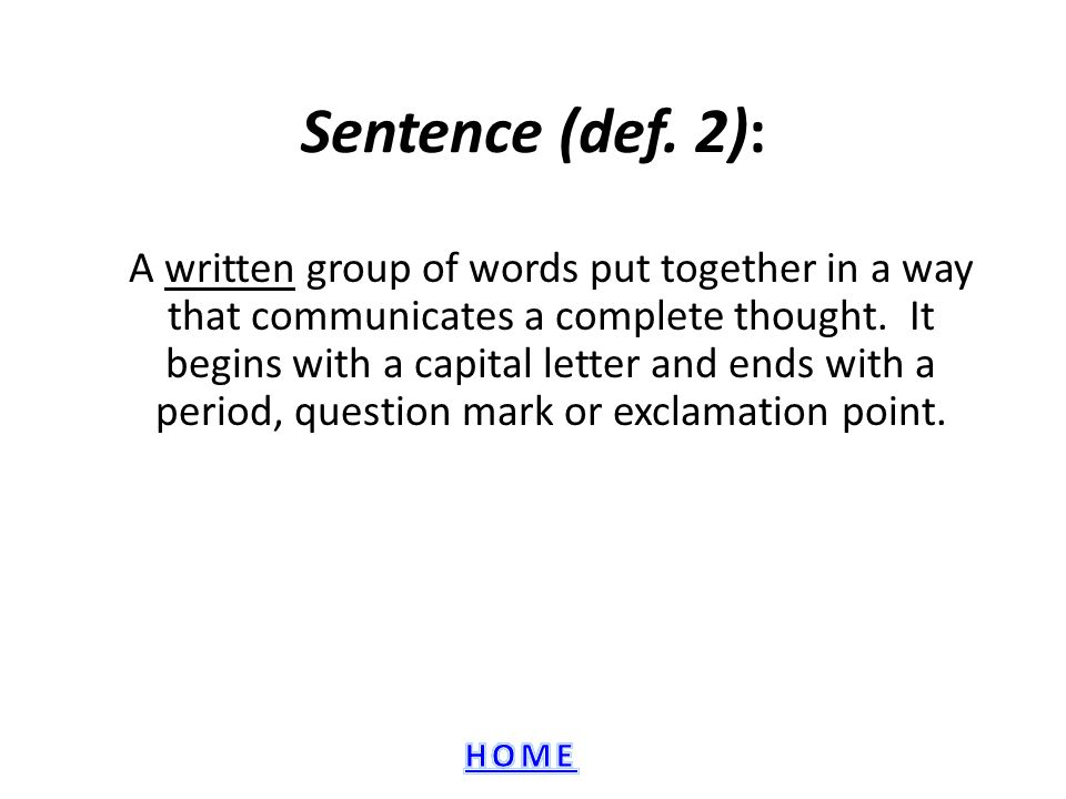 Sentence (def. 2):