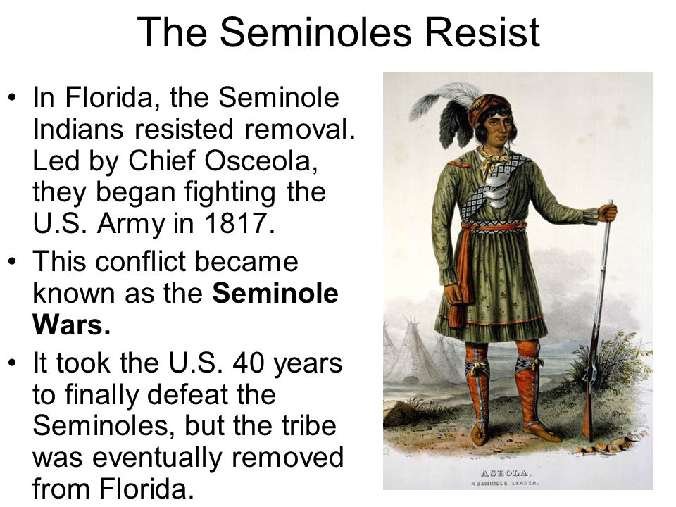 The Seminoles Resist In Florida, the Seminole Indians resisted removal. Led by Chief Osceola, they began fighting the U.S. Army in 1817.