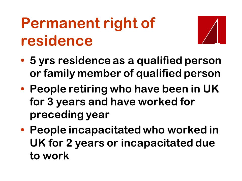 Permanent right of residence