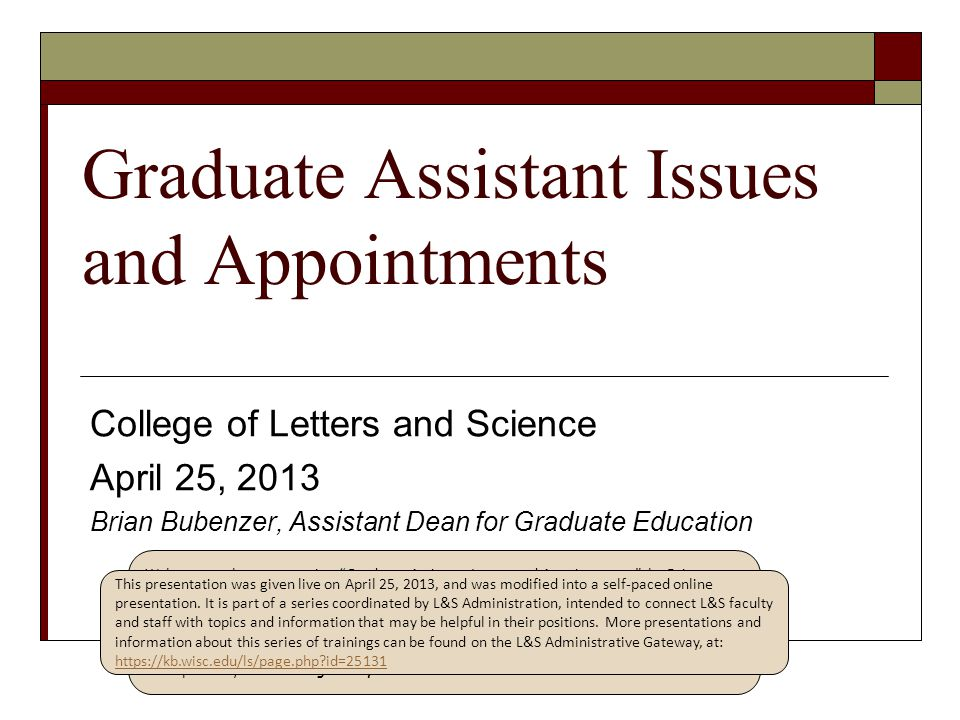 Graduate Assistant Issues and Appointments
