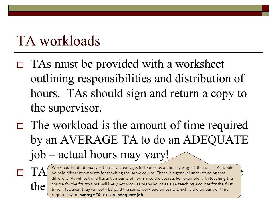 TA workloads