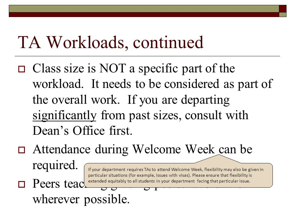 TA Workloads, continued