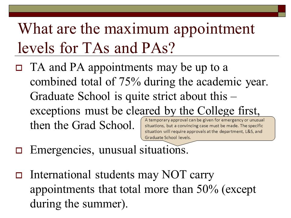 What are the maximum appointment levels for TAs and PAs
