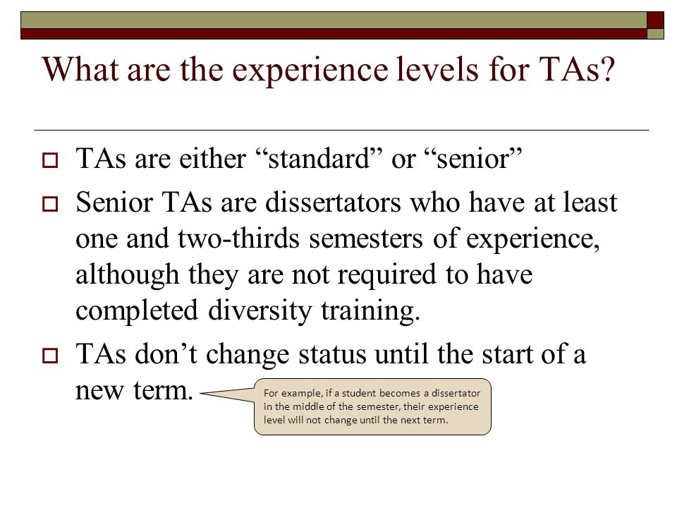 What are the experience levels for TAs