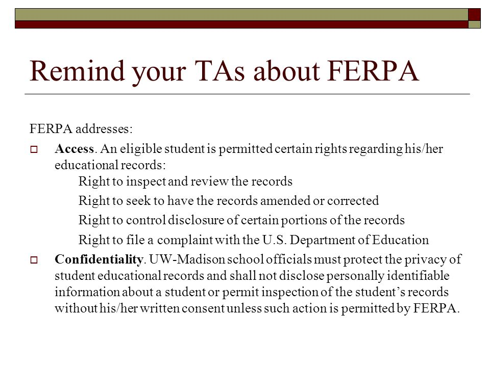 Remind your TAs about FERPA