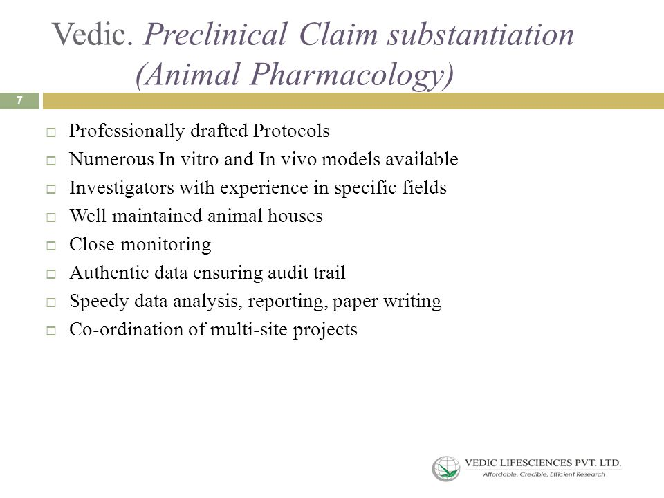 Vedic. Preclinical Claim substantiation (Animal Pharmacology)