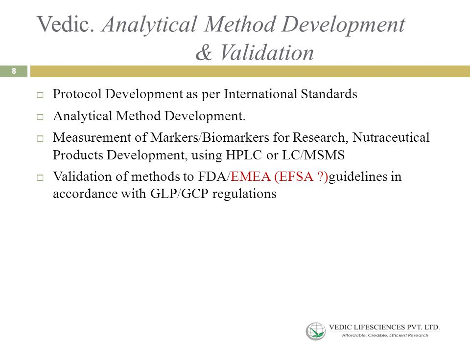 Vedic. Analytical Method Development & Validation