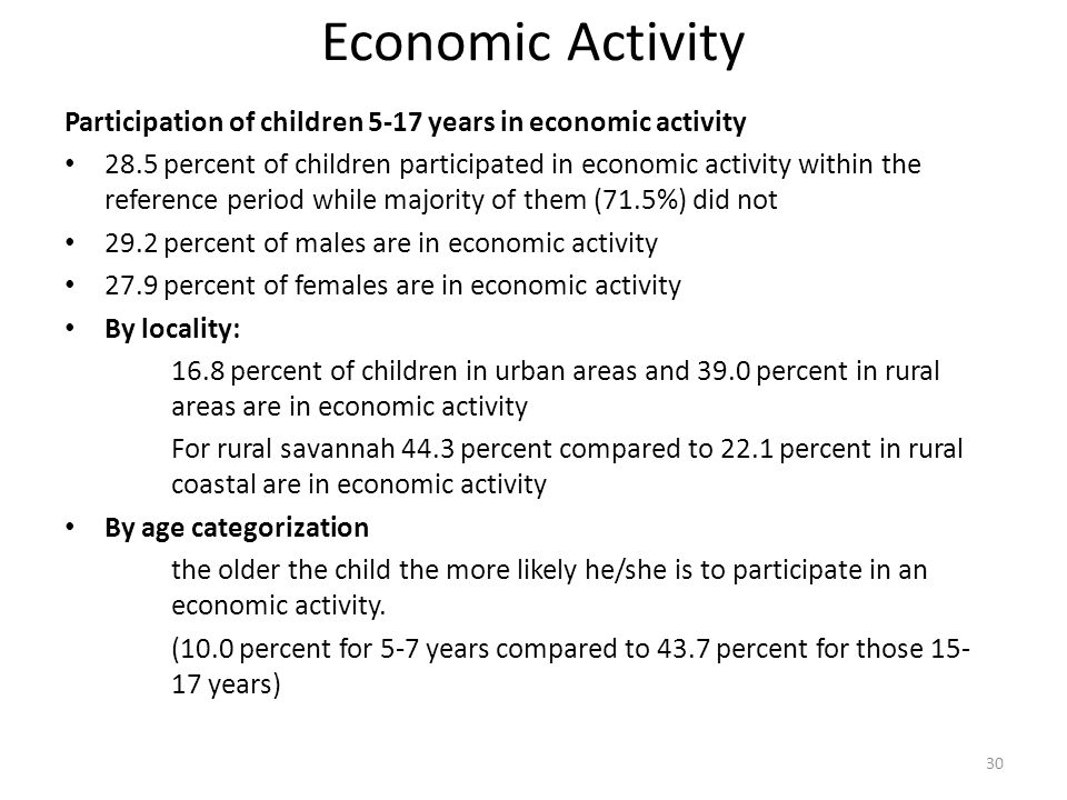 Economic Activity Participation of children 5-17 years in economic activity.