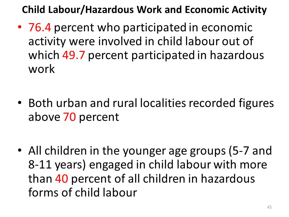 Child Labour/Hazardous Work and Economic Activity