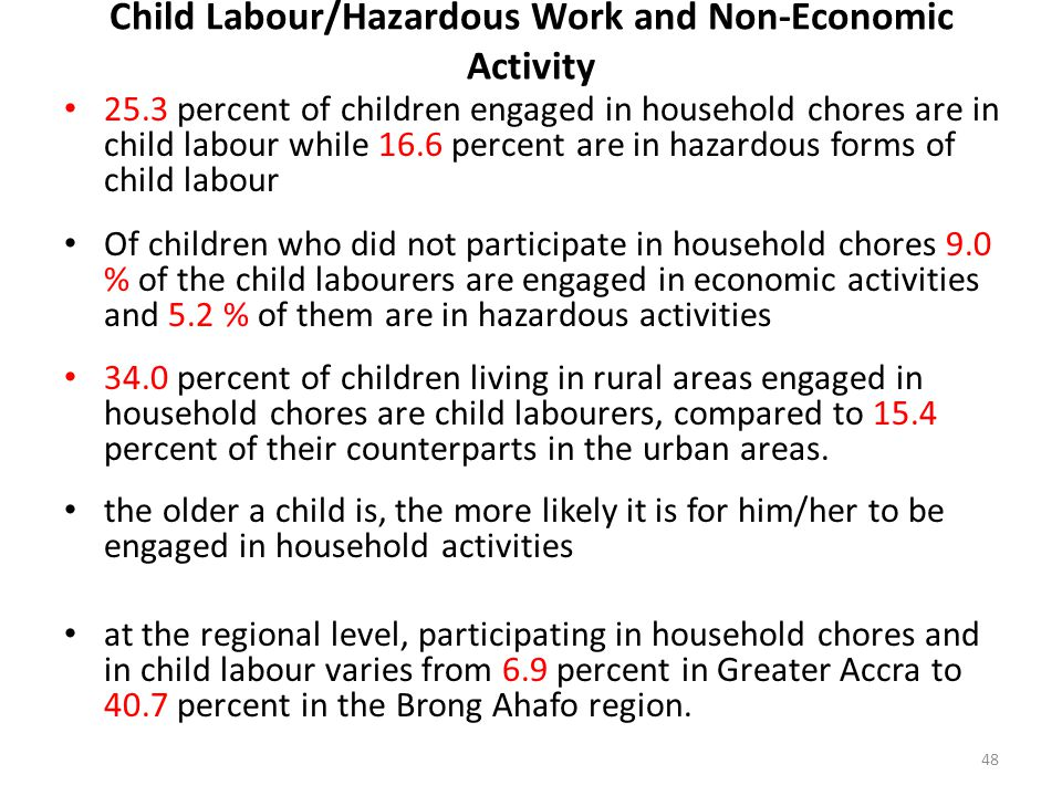 Child Labour/Hazardous Work and Non-Economic Activity