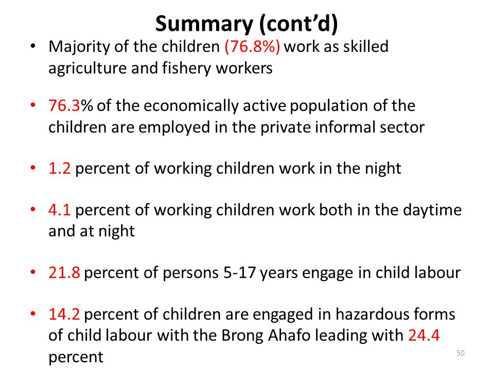 Summary (cont'd) Majority of the children (76.8%) work as skilled agriculture and fishery workers.
