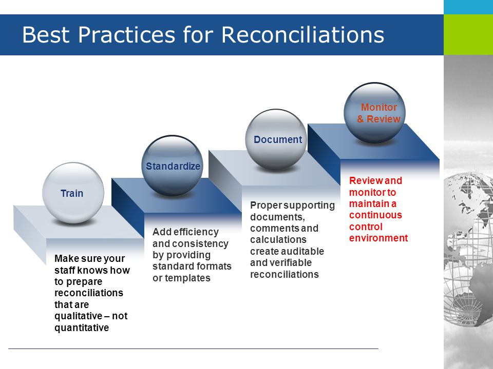 Best Practices for Reconciliations