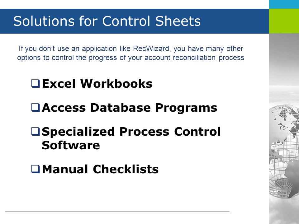 Solutions for Control Sheets