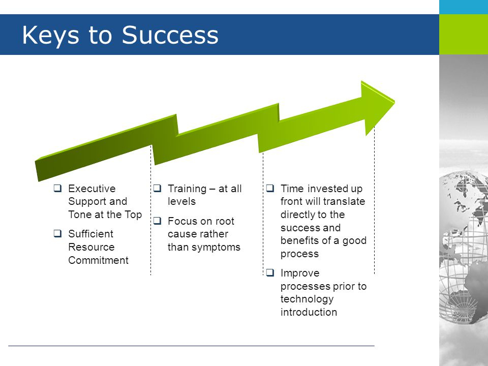 Keys to Success Executive Support and Tone at the Top