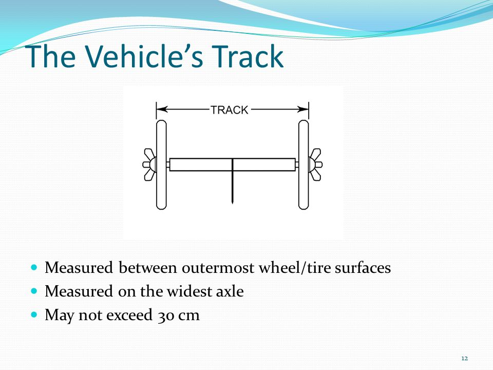 The Vehicle's Track Measured between outermost wheel/tire surfaces