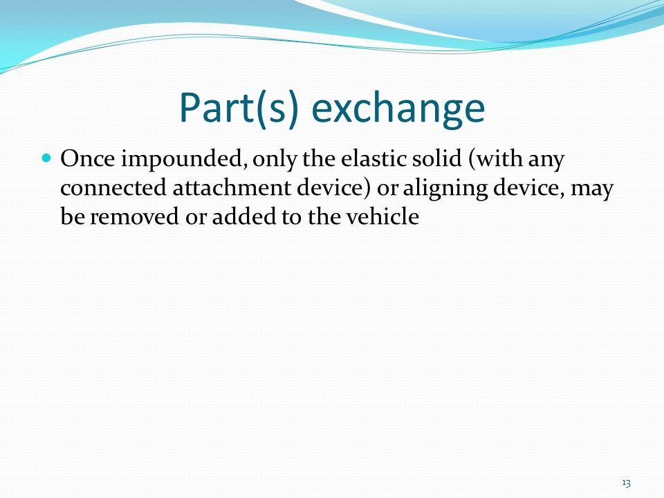 Part(s) exchange