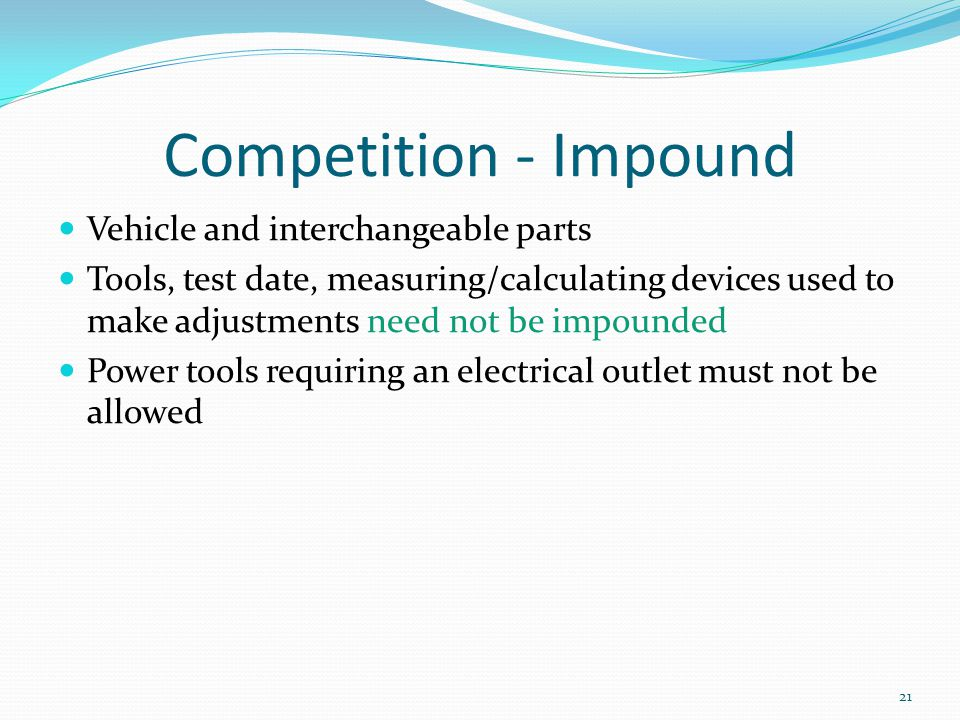 Competition - Impound Vehicle and interchangeable parts