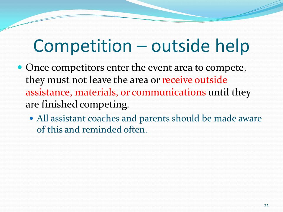 Competition – outside help