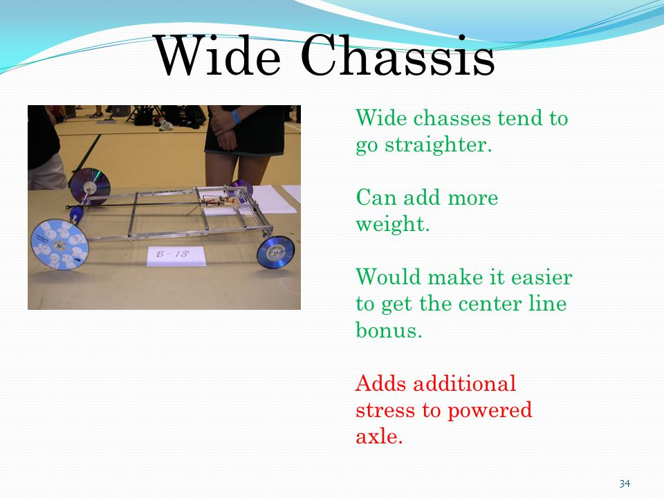 Wide Chassis Wide chasses tend to go straighter. Can add more weight.