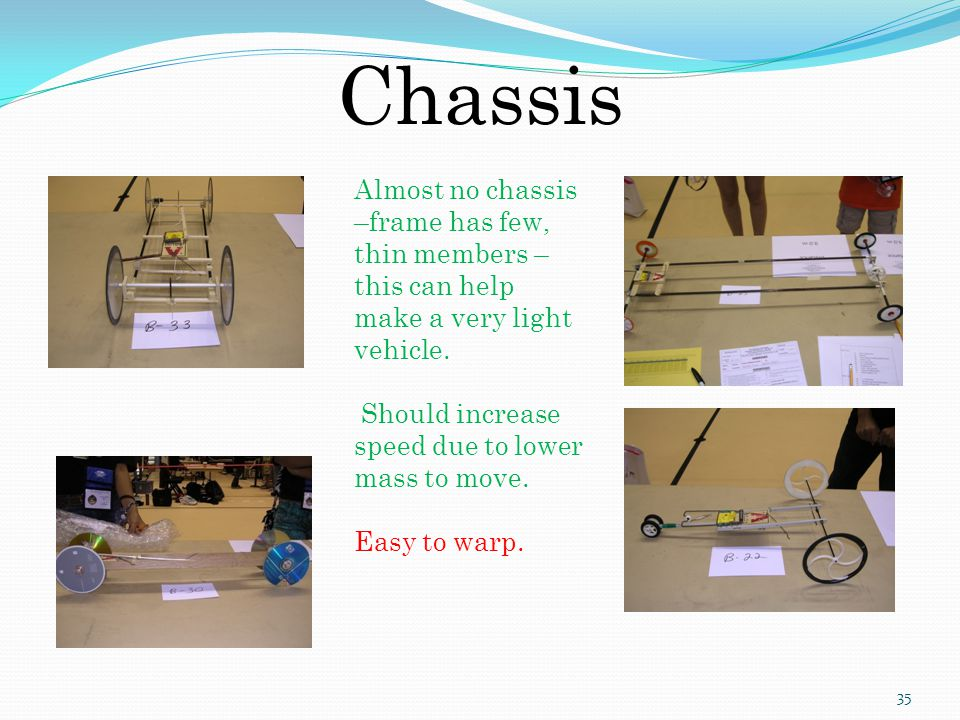 Chassis Almost no chassis –frame has few, thin members – this can help make a very light vehicle. Should increase speed due to lower mass to move.