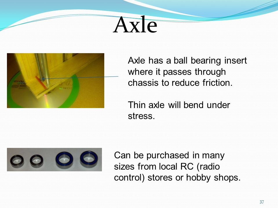 Axle Axle has a ball bearing insert where it passes through chassis to reduce friction. Thin axle will bend under stress.