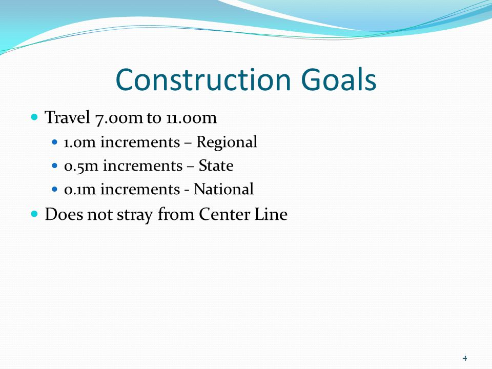 Construction Goals Travel 7.00m to 11.oom