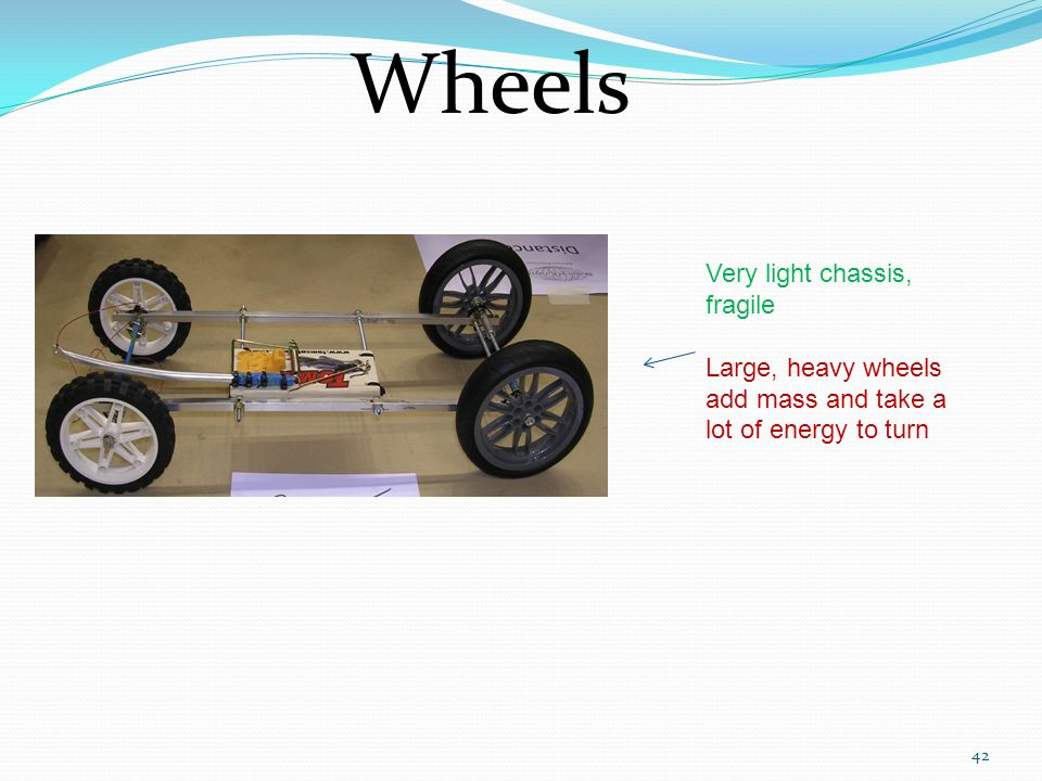 Wheels Very light chassis, fragile