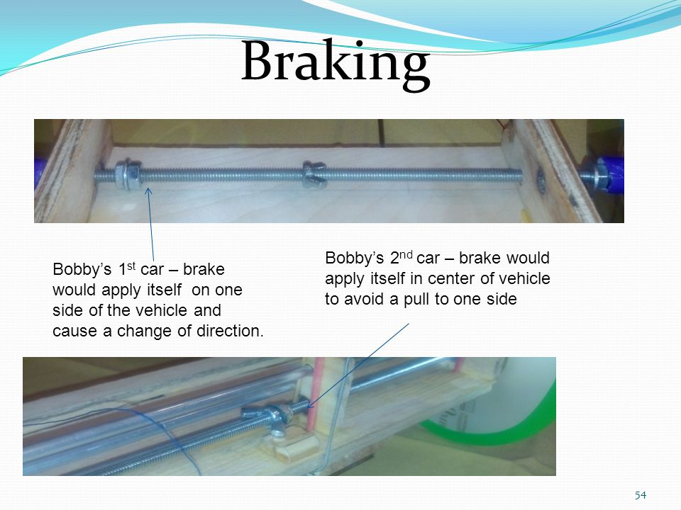 Braking Bobby's 2nd car – brake would apply itself in center of vehicle to avoid a pull to one side.