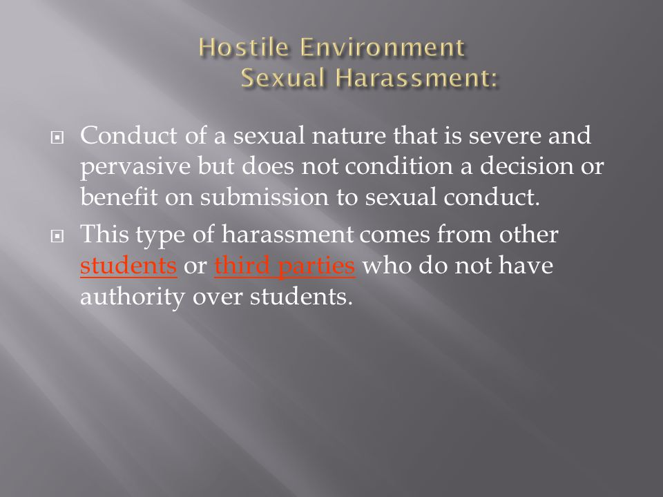 Hostile Environment Sexual Harassment: