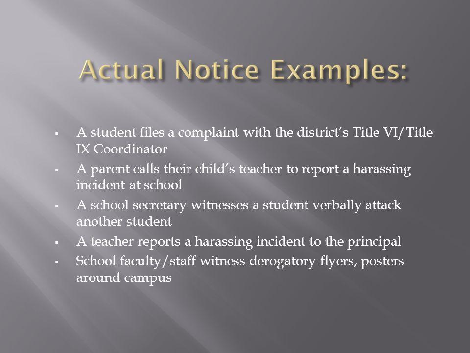 Actual Notice Examples: