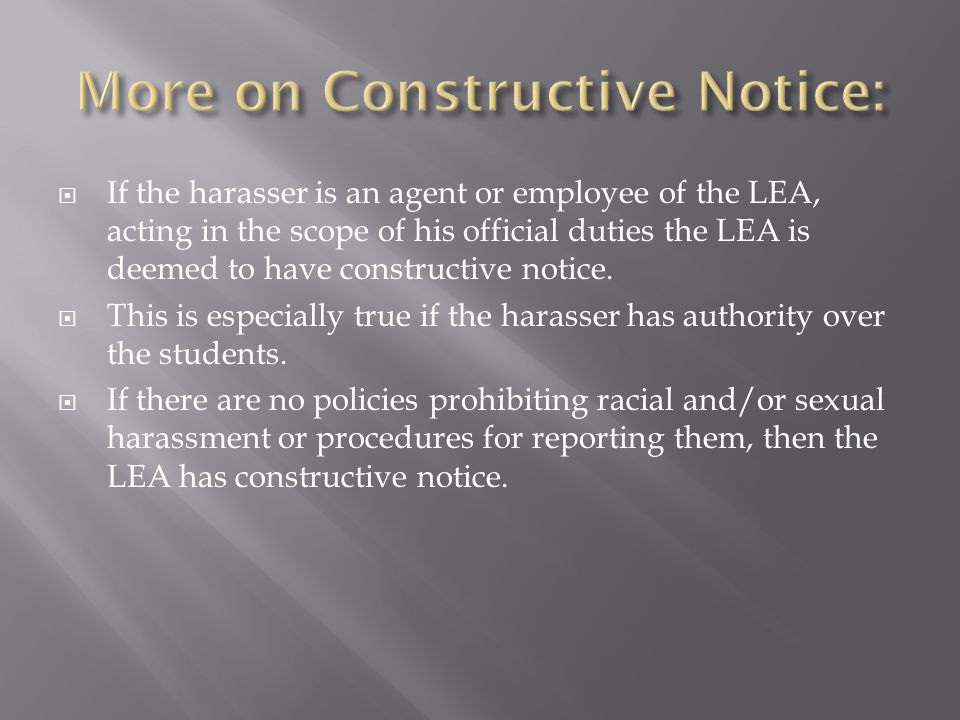 More on Constructive Notice: