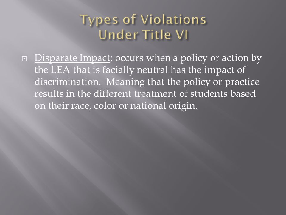 Types of Violations Under Title VI