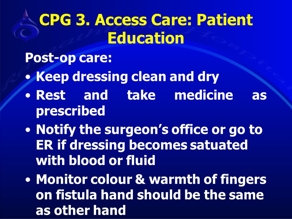 CPG 3. Access Care: Patient Education