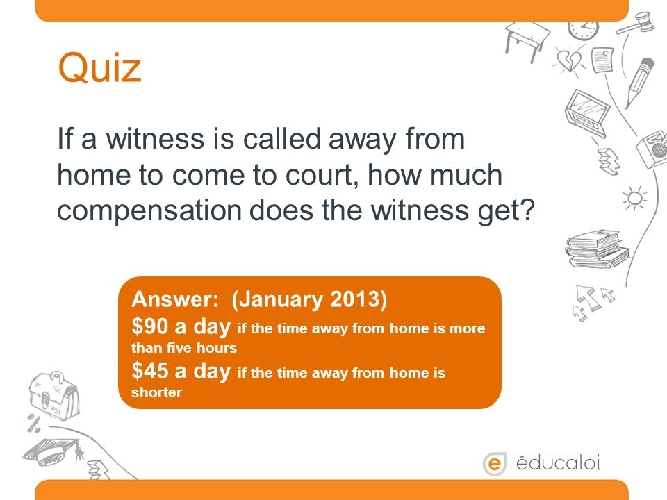 Quiz If a witness is called away from home to come to court, how much compensation does the witness get