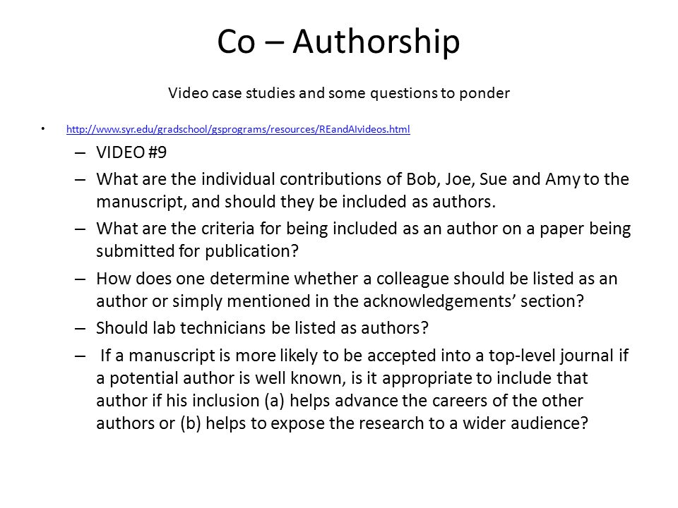 Co – Authorship Video case studies and some questions to ponder