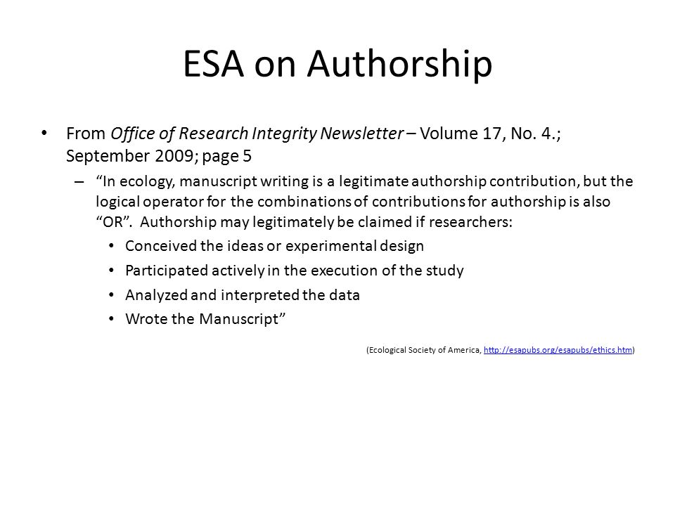 this is a test ESA on Authorship. From Office of Research Integrity Newsletter – Volume 17, No. 4.; September 2009; page 5.