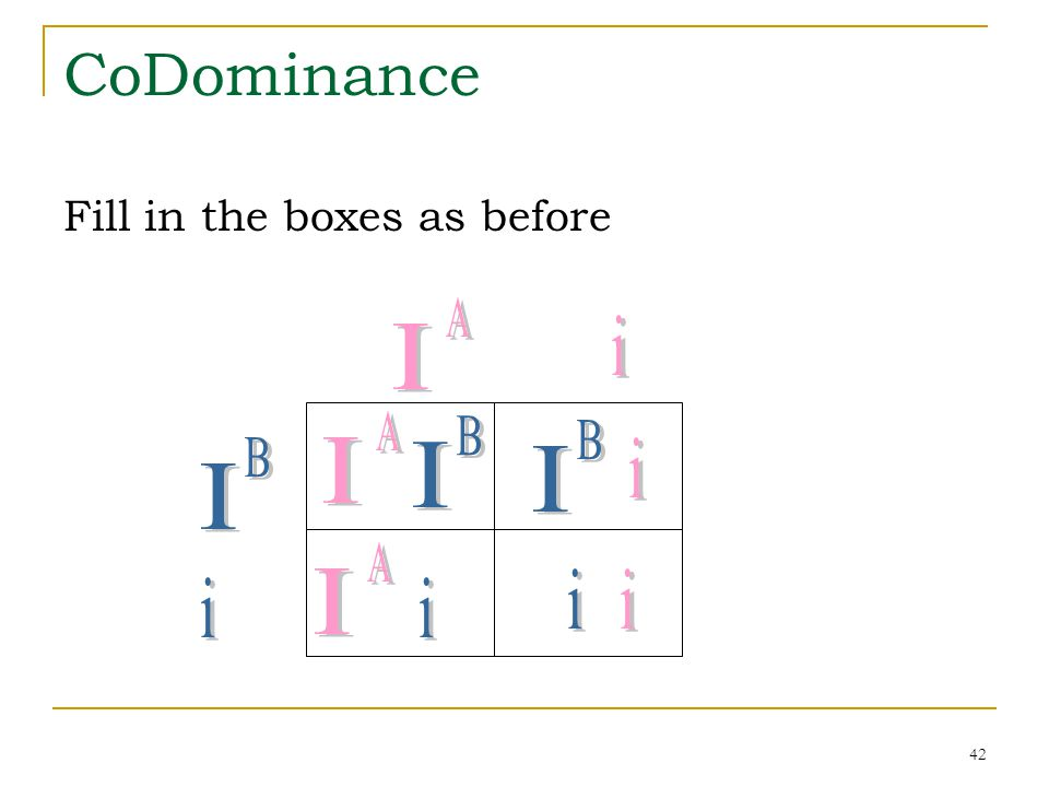 CoDominance I i I I I I i I i i i i Fill in the boxes as before A A B