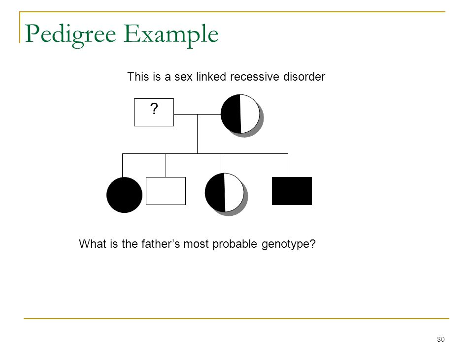 Pedigree Example This is a sex linked recessive disorder