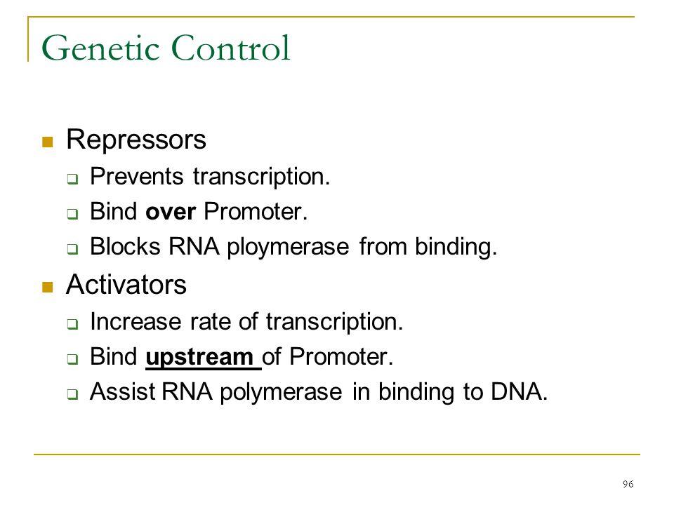 Genetic Control Repressors Activators Prevents transcription.