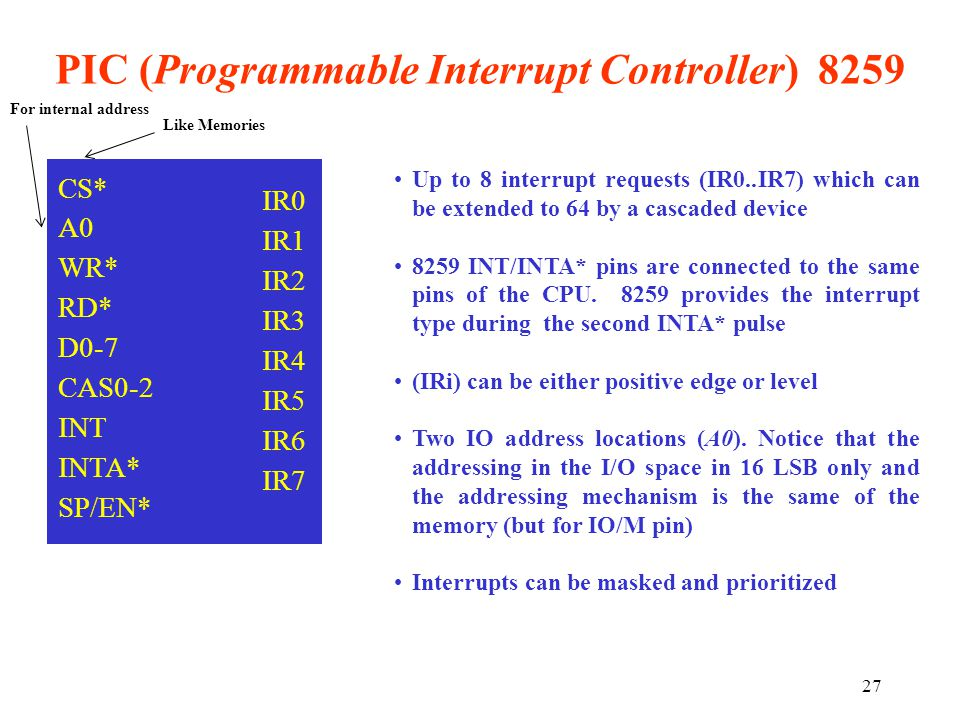 PIC (Programmable Interrupt Controller) 8259